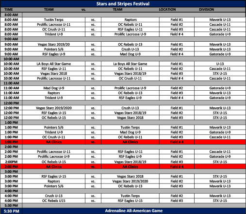 Prolific_Stars and Stripes Schedule